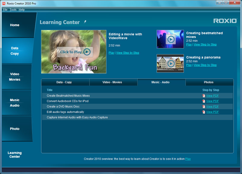 Roxio Creator 2010 Learning Center