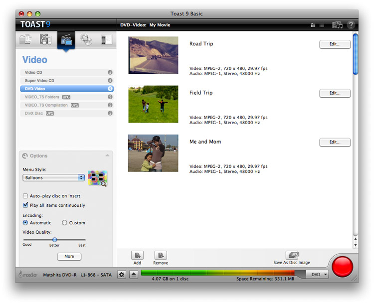 Roxio Easy VHS to DVD for Mac Screenshot